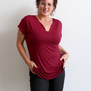 In The Moment T-shirt made in bamboo is the short-sleeved women's basic top. Sangria Red.