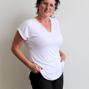 In The Moment T-shirt made in bamboo is the short-sleeved women's basic top. White.