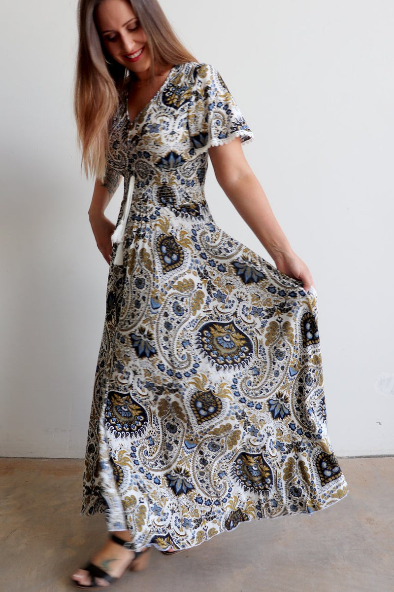 Isabelle Gown Maxi Dress in paisley print available in plus size fitting. Australian family company owned.