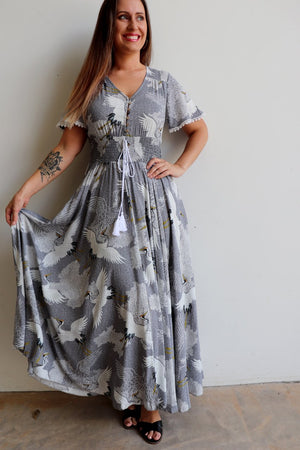 Isabelle Gown Maxi Dress in Japanese inspired print available in plus size fitting. Australian family company owned.