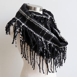 Ivy Infinity Scarf - Winter knit plaid accessory in funky snood style. Black / Cream.