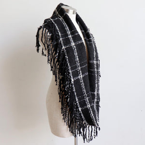 Ivy Infinity Scarf - Winter knit plaid accessory in funky snood style. Black / Cream. Long Loop.