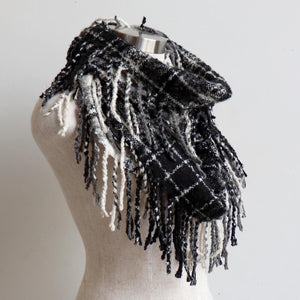 Ivy Infinity Scarf - Winter knit plaid accessory in funky snood style. Black / Silver.
