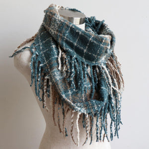 Ivy Infinity Scarf - Winter knit plaid accessory in funky snood style. Blue Beryl.