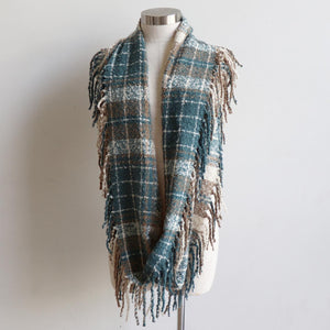 Ivy Infinity Scarf - Winter knit plaid accessory in funky snood style. Blue Beryl. Long View.