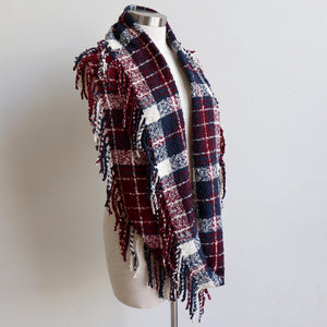 Ivy Infinity Scarf - Winter knit plaid accessory in funky snood style. Burgundy.