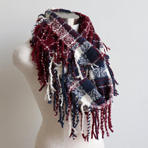 Ivy Infinity Scarf - Winter knit plaid accessory in funky snood style. Burgundy. Long Loop.