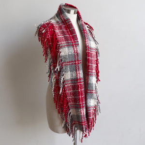 Ivy Infinity Scarf - Winter knit plaid accessory in funky snood style. Red / Silver. Long Loop.