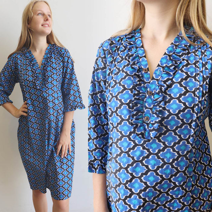 Jennifer Shirt Dress - Cobalt Blue Sari Cotton