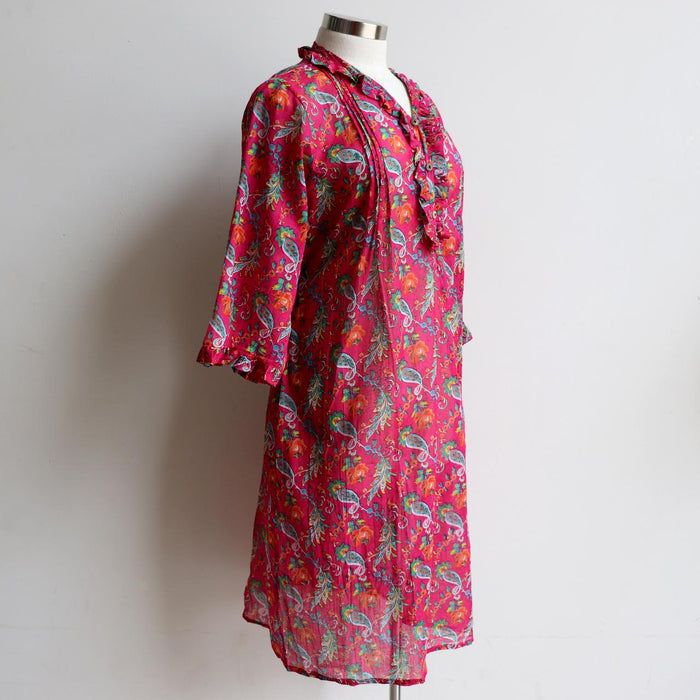 Jennifer Shirt Dress - Floral hot pink
