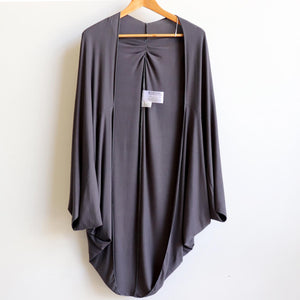 Women's oversize cocoon cardigan jacket top made with soft draping double stretch rayon.  Charcoal.