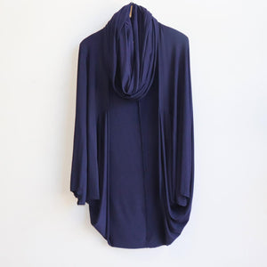Bamboo Cocoon Cardigan Top by Kobomo, a free-size winter shrug to add a sleeve. Navy Blue. with Snood.
