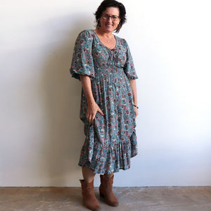 Jessie's Girl Midi Dress is a romantic floral design with all the retro romance of a classic boho style. Denim Blue. Karen.