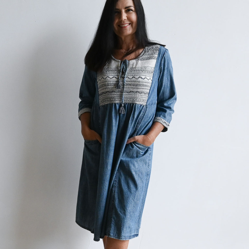 Denim Blue Peasant Dress by Orientique