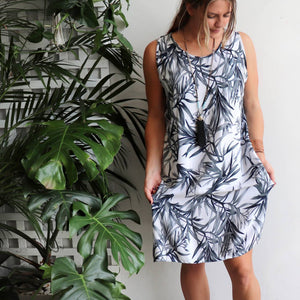 Joan Shift Dress in tropical bamboo print is an easy sleeveless summer tunic dress available in plus sizes.