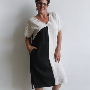Kobomo Linen Art Deco Kaftan Dress