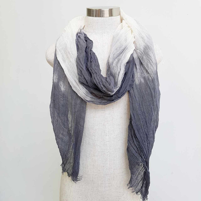 Karma cotton natural ethnic scarf - charcoal grey