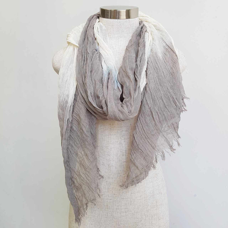 Karma cotton natural ethnic scarf - latte