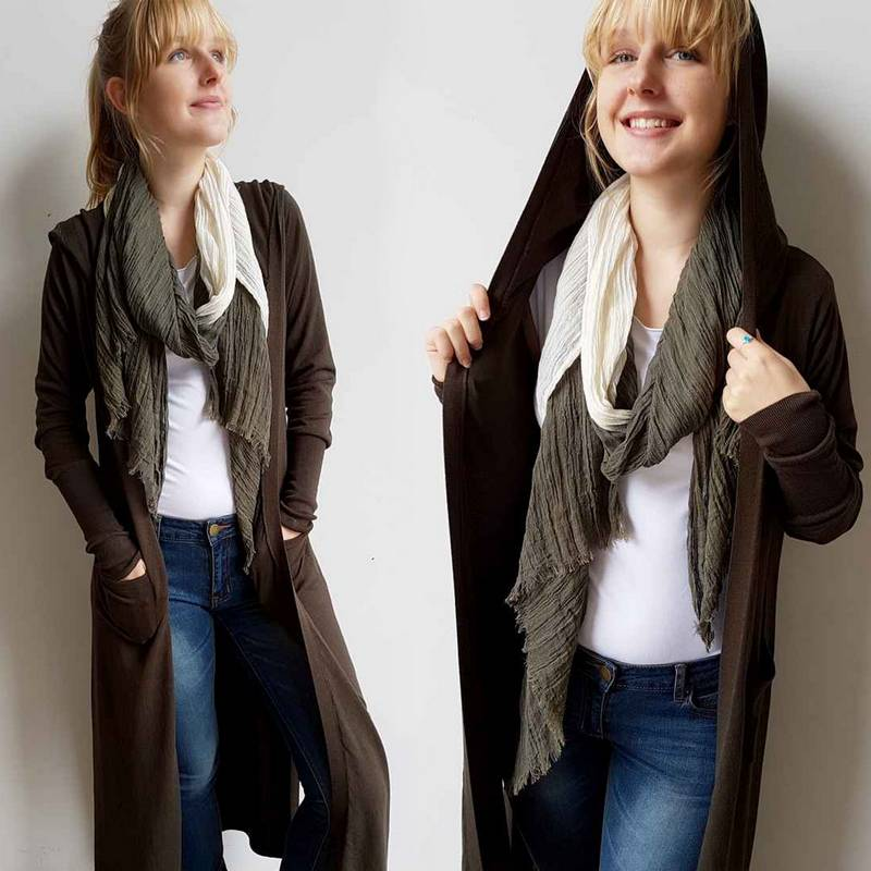 Hooded Knit Duster Cardigan Winter Weather Jacket + Hood + Side Splits. Black