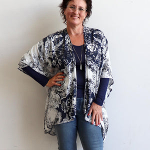 Kimono Wrap, in navy floral, is a versatile and lightweight 'throw-over'