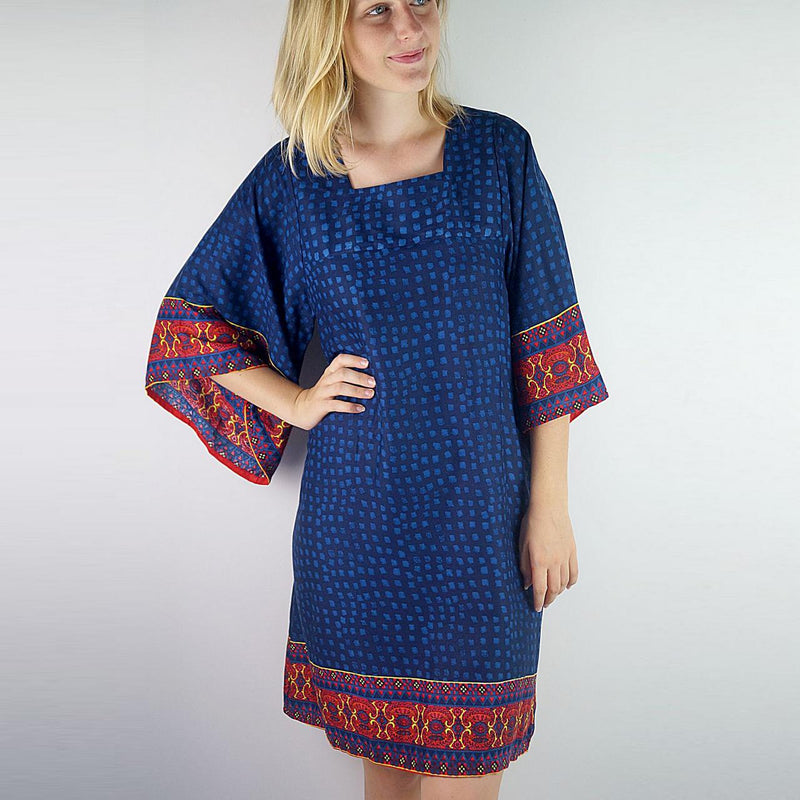 Soft rayon a-shape kimono with bell sleeves and square neckline. Indigo Blue.