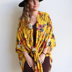 Kimono Kaftan open front women's cardigan. Plus Size styling in a floral print with Sunshine Yellow.
