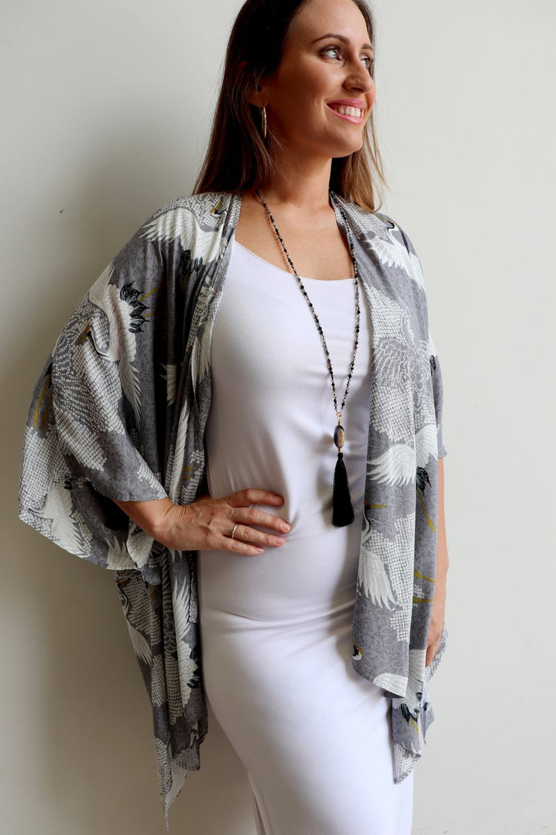 Women's Kimono Wrap Cardi Top in lightweight rayon with silver Japanese-inspired print. Plus size fitting.