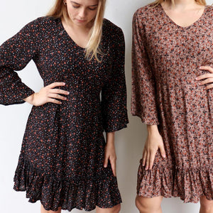 Knowing Me Dress a blouse style bodice dress. An all-seasons women's dress with full sleeves and rear elasticated waistband with ruffled hemline. True to size fit in sizes 8-16.