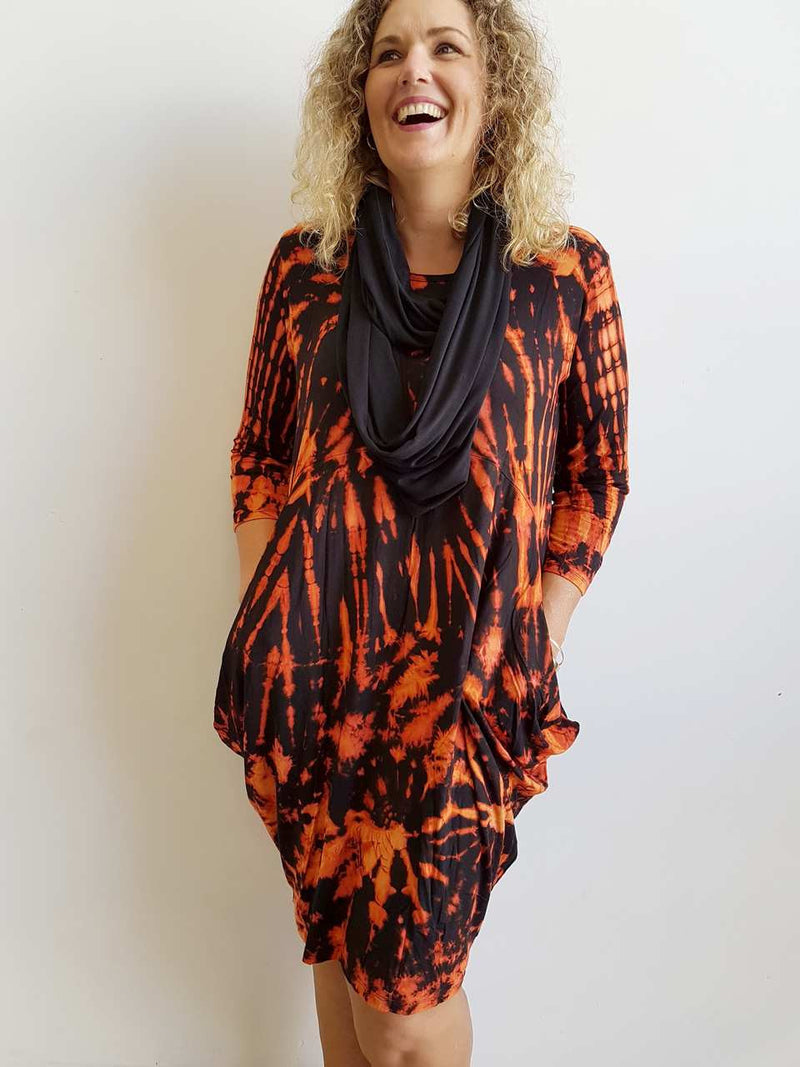 Original KOBOMO dress - The Let It Be Dress - LAVA. Quality stretch rayon, knee-length, 3/4 sleeve t-shirt style dress.