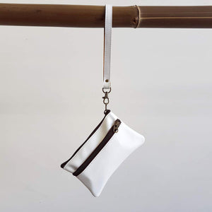 Ethical & hand made genuine leather purse with double zip and wrist strap. Perfect accessory for your iPhone. white