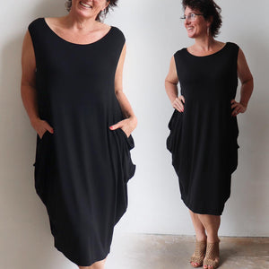 Ehtically handmade bamboo sleeveless dress. Plus size style. Black