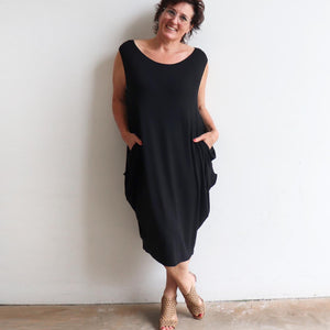 Ehtically handmade bamboo sleeveless dress. Plus size style. Black.