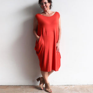 Ehtically handmade bamboo sleeveless dress. Plus size style. Brick Red.