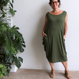 Ehtically handmade bamboo sleeveless dress. Plus size style. Khaki Green.
