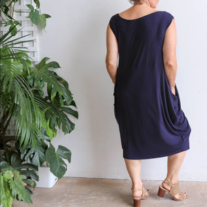 Ehtically handmade bamboo sleeveless dress. Plus size style. Navy Blue.