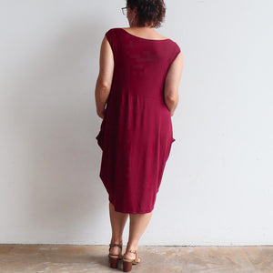 Ehtically handmade bamboo sleeveless dress. Plus size style. Sangria Red.