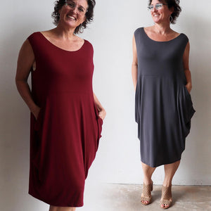 Ehtically handmade bamboo sleeveless dress. Plus size style. Sangria Red and Charcoal
