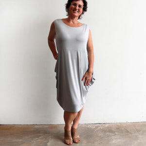 Ehtically handmade bamboo sleeveless dress. Plus size style. Silver.
