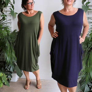 Ehtically handmade bamboo sleeveless dress. Plus size style. Khaki Green and Navy Blue
