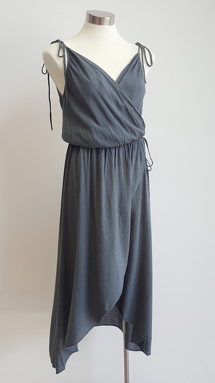 100% cotton spaghetti strap summer boho wrap dress with adjustable ties. Charcoal.