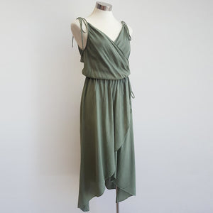 100% cotton spaghetti strap summer boho wrap dress with adjustable ties. Misty green.