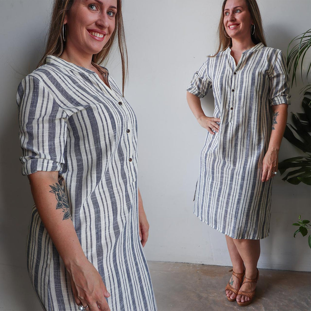 Linen Kurta Tunic Dress in blue and cream stripe. Available in plus size. Designed in Noosa, Australia and has been ethically produced in small runs.