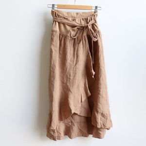 Italian made Linen Wrap Skirt. One sizing that fits 8 to 16. Camel.