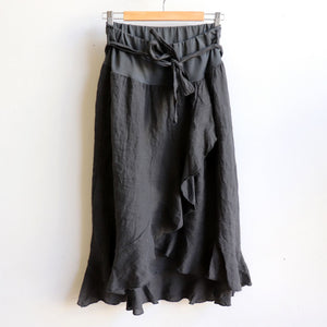 Italian made Linen Wrap Skirt. One sizing that fits 8 to 16. Charcoal.