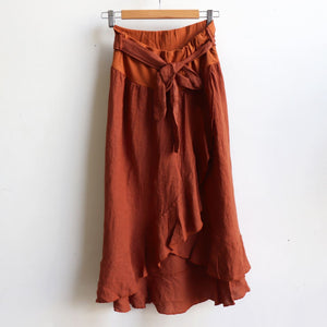 Italian made Linen Wrap Skirt. One sizing that fits 8 to 16. Ochre.