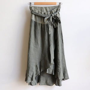 Italian made Linen Wrap Skirt. One sizing that fits 8 to 16. Olive.