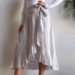 Italian made Linen Wrap Skirt. One sizing that fits 8 to 16.