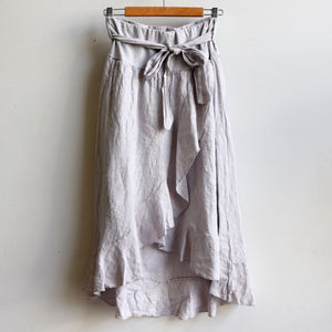 Italian made Linen Wrap Skirt. One sizing that fits 8 to 16. Stone.