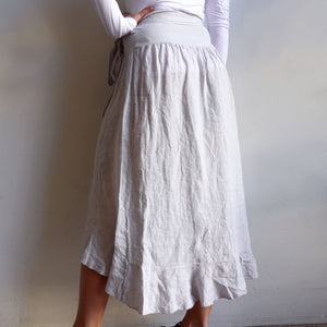 Italian made Linen Wrap Skirt. One sizing that fits 8 to 16. Moonshine.