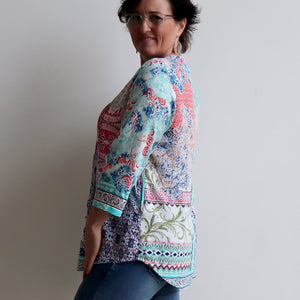 Live A Little Pocket Tunic Blouse - Madeira